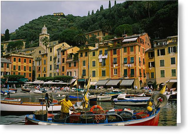 Portofino Italy Greeting Cards - Fishing Boats At The Harbor, Portofino Greeting Card by Panoramic Images