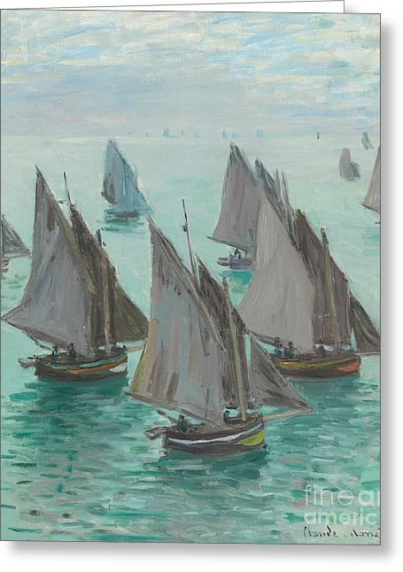 Blue Sailboat Greeting Cards - Fishing Boats Calm Sea Greeting Card by Claude Monet