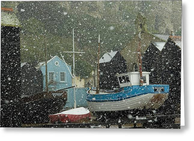 Sailboats In Harbor Greeting Cards - Fishing Boats Covered With Snow In Old Greeting Card by Chris Parker