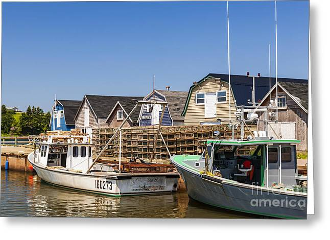 Lobster Traps Greeting Cards - Fishing boats docked in Prince Edward Island  Greeting Card by Elena Elisseeva