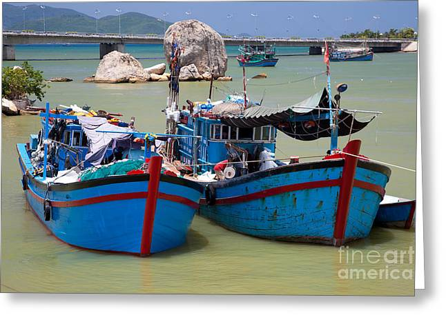Asian Culture Greeting Cards - Fishing boats Greeting Card by Fototrav Print