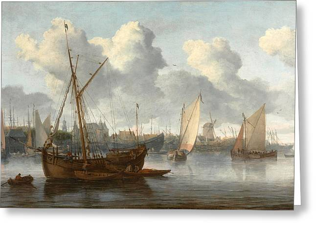 Fishing Boats In A Harbor Greeting Card by Allaert van Everdingen