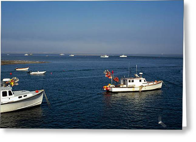 New England Ocean Greeting Cards - Fishing Boats In An Ocean, Cape Cod Greeting Card by Panoramic Images