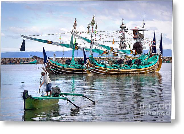 Travel Photographs Greeting Cards - Fishing Boats in Bali Greeting Card by Louise Heusinkveld