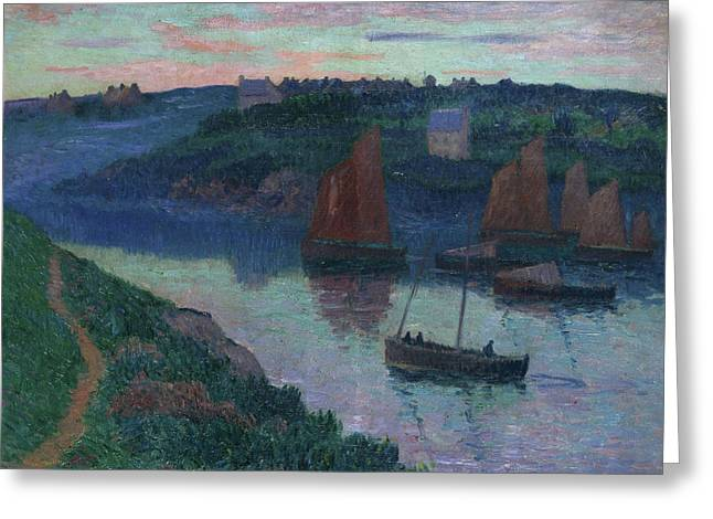 Moret Greeting Cards - Fishing Boats in Bretagne Greeting Card by Henry Moret