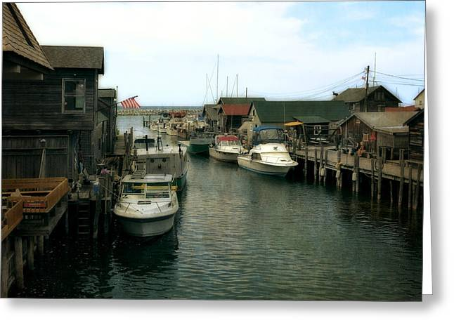 Leland Greeting Cards - Fishing Boats in Fishtown Greeting Card by Michelle Calkins