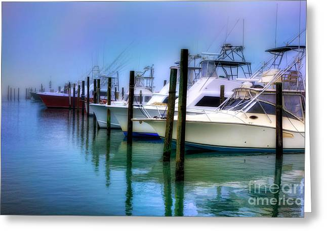Oregon Artist Greeting Cards - Fishing Boats in Fog - Outer Banks Greeting Card by Dan Carmichael