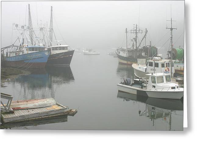 New England Ocean Greeting Cards - Fishing boats in fog South Bristol Maine Greeting Card by Keith Webber Jr