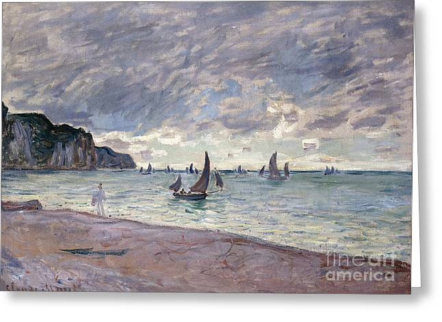 Boats In Water Greeting Cards - Fishing Boats in front of the Beach and Cliffs of Pourville Greeting Card by Claude Monet