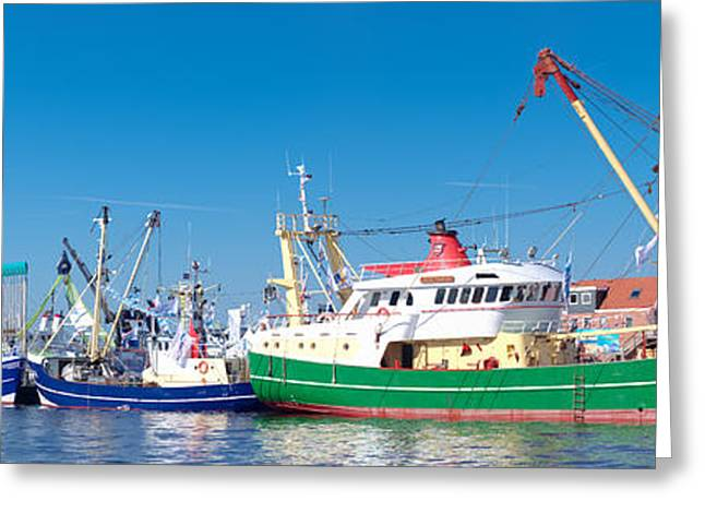 Wooden Ship Greeting Cards - Fishing Boats In Harbor Greeting Card by Hans Engbers