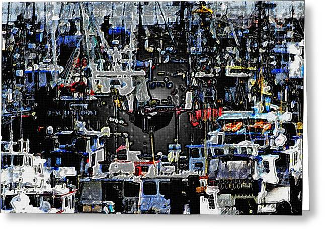 Boats In Harbor Digital Art Greeting Cards - Fishing Boats In Harbor Greeting Card by Tom Janca