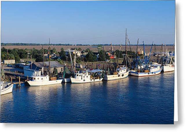 Fishing Boats Greeting Cards - Fishing Boats In Intercoastal Waterway Greeting Card by Panoramic Images