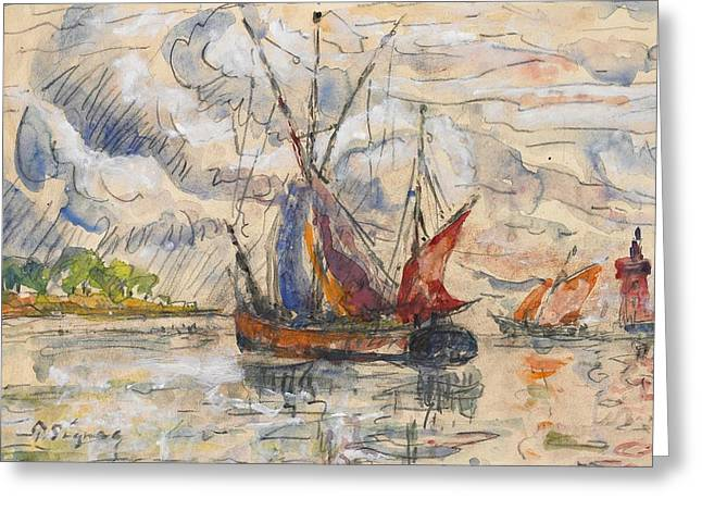 Docked Sailboats Greeting Cards - Fishing Boats in La Rochelle Greeting Card by Paul Signac