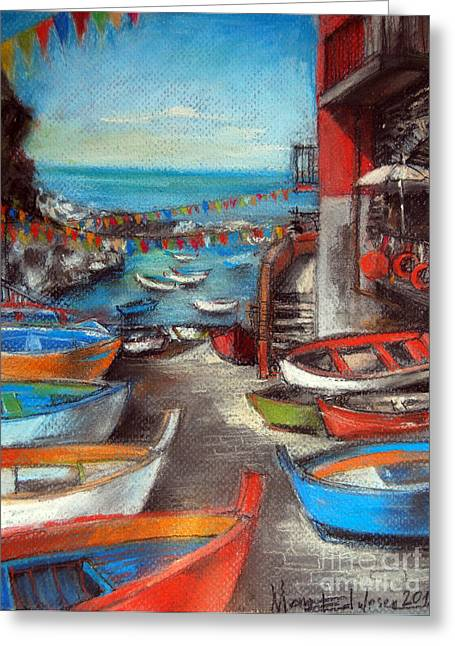 Fishing Boats Pastels Greeting Cards - Fishing Boats In Riomaggiore Greeting Card by Mona Edulesco