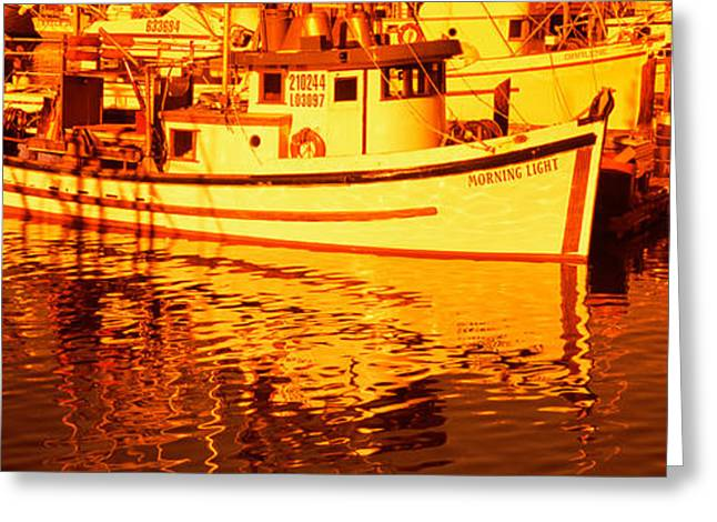 Morro Bay Greeting Cards - Fishing Boats In The Bay, Morro Bay Greeting Card by Panoramic Images
