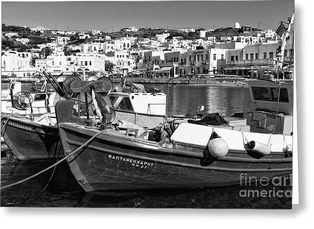 Fishing Boats In The Mykonos Harbor Mono Greeting Card by John Rizzuto