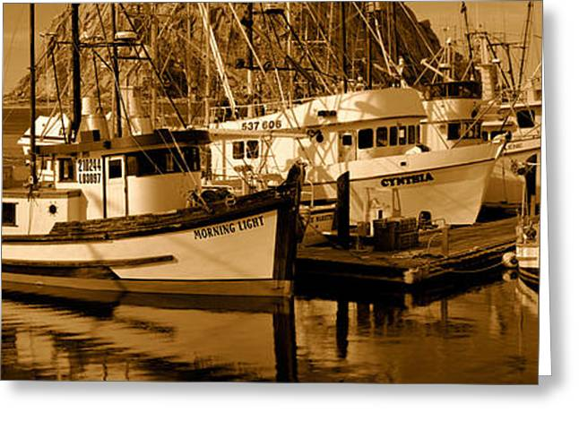 Morro Bay Greeting Cards - Fishing Boats In The Sea, Morro Bay Greeting Card by Panoramic Images
