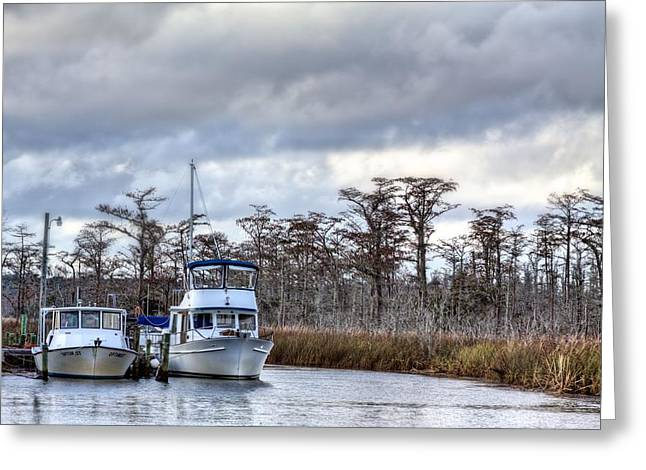 Florida Panhandle Greeting Cards - Fishing Boats Greeting Card by JC Findley