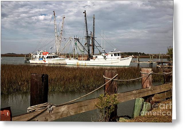 Old Fishing Boat Greeting Cards - Fishing Boats Greeting Card by John Rizzuto