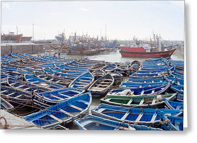 Fishing Boats Greeting Cards - Fishing Boats Moored At A Dock Greeting Card by Panoramic Images
