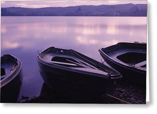 Fishing Boats Greeting Cards - Fishing Boats Moored In A Lake, Loch Greeting Card by Panoramic Images
