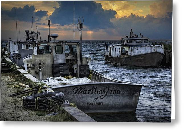 Metal Fish Art Photography Greeting Cards - Fishing Boats moored in the channel with rain storm moving in Greeting Card by Randall Nyhof