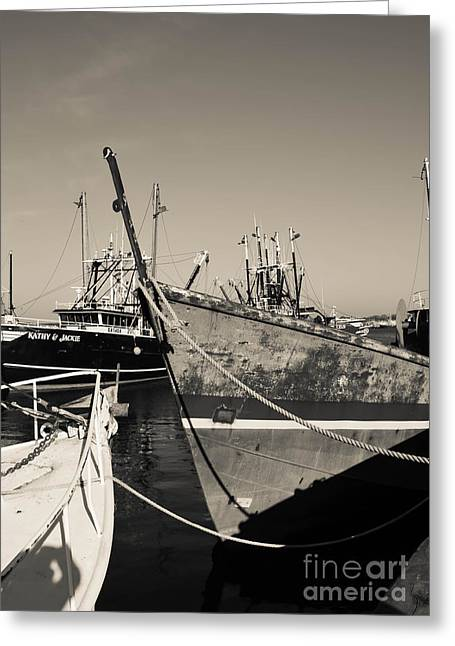 Wooden Ship Greeting Cards - Fishing Boats - New Bedford Pier  Greeting Card by Andrea Anderegg
