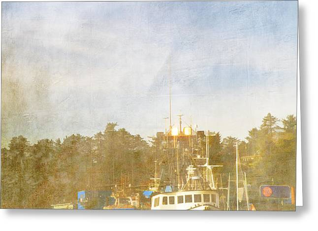 Fishing Boats Newport Oregon Greeting Card by Carol Leigh