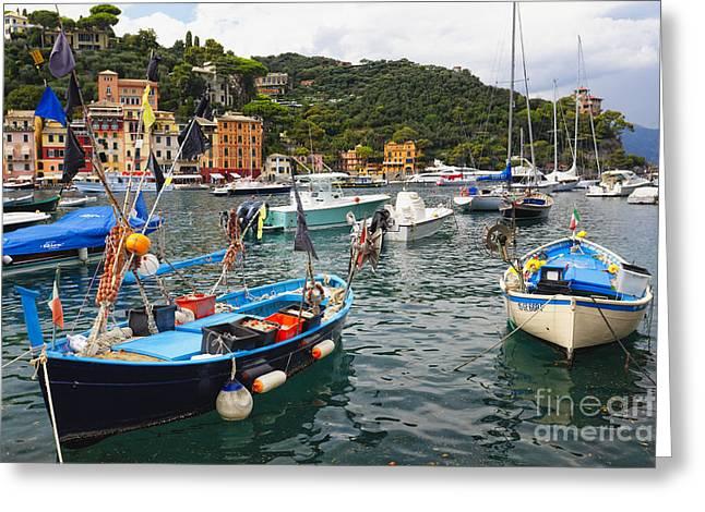Portofino Italy Greeting Cards - Fishing Boats of Portofino Greeting Card by George Oze