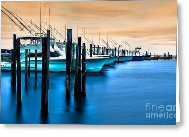 Pea Island Greeting Cards - Fishing Boats on Glass I - Outer Banks Greeting Card by Dan Carmichael