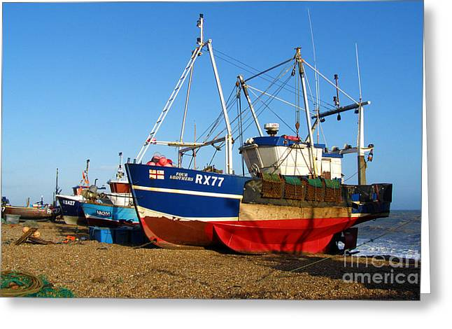 Fishing Boats On Hastings Stade Greeting Card by Terri Waters