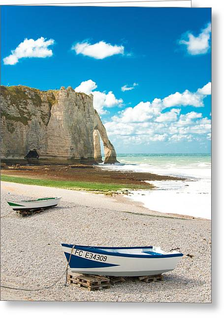 Sea View Greeting Cards - Fishing Boats on the Beach at Etretat Greeting Card by Loriental Photography