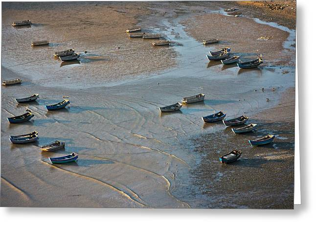 Fishing Boats On The Muddy Beach, East Greeting Card by Keren Su