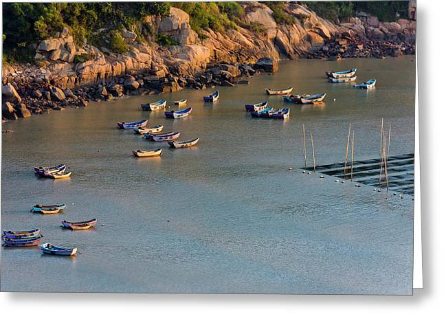 Fishing Boats On The Muddy Beach Greeting Card by Keren Su