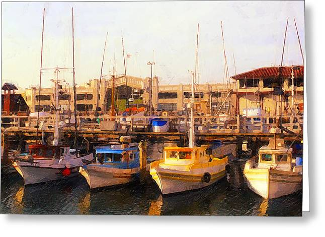 Reflection In Water Digital Greeting Cards - Fishing Boats Greeting Card by Ron Regalado