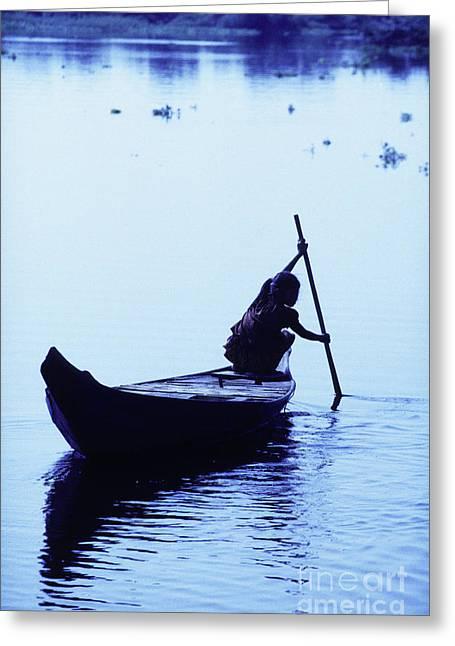 Tonle Greeting Cards - Fishing boats Tonle Sap lake Cambodia Greeting Card by Ryan Fox