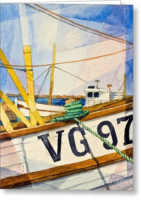 Fishing Boats Watercolor Greeting Card by Lutz Baar