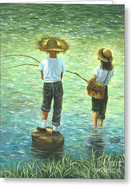 Vickie Wade Paintings Greeting Cards - Fishing Boy and Girl Greeting Card by Vickie Wade