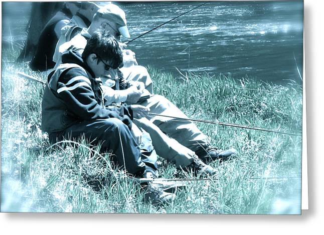 Fishing Creek Greeting Cards - Fishing Buddies Greeting Card by Tracy Male