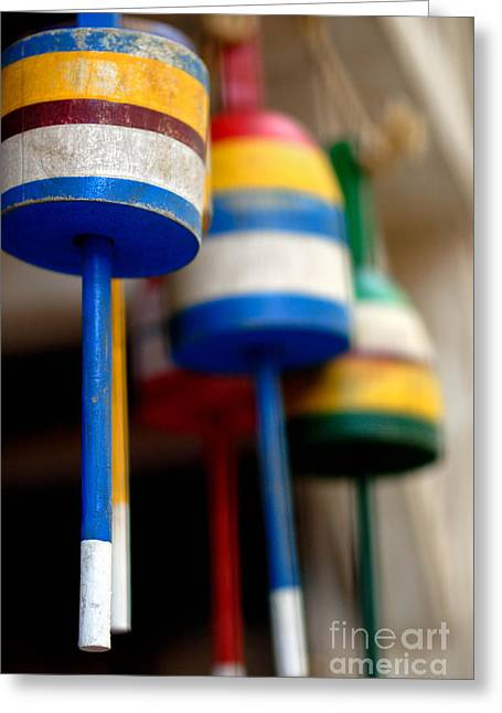 Hanging Greeting Cards - Fishing Buoys Greeting Card by Amy Cicconi