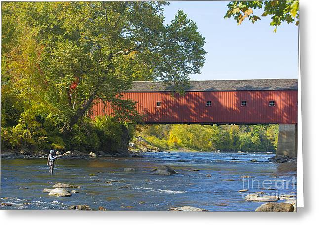 Connecticut Covered Bridge Greeting Cards - Fishing by the Covered Bridge Greeting Card by Diane Diederich