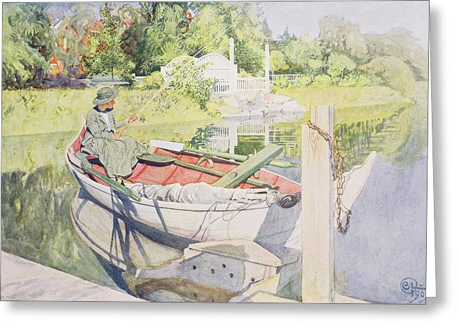 Reflecting Water Greeting Cards - Fishing Greeting Card by Carl Larsson