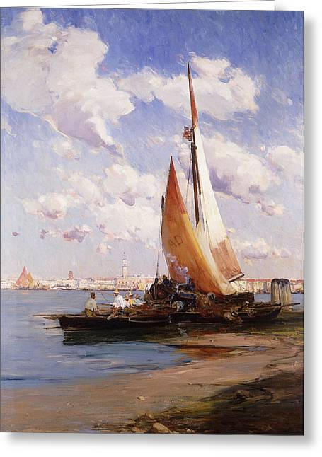 Water Vessels Greeting Cards - Fishing Craft with the Rivere degli Schiavoni Venice Greeting Card by E Aubrey Hunt