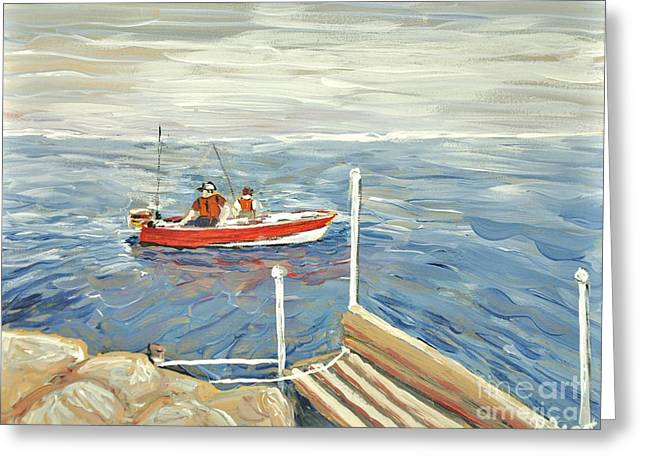 Fishing Trip Greeting Cards - Fishing Day on Georgian Bay Greeting Card by Reb Frost
