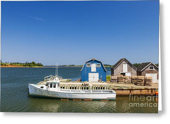 Lobster Traps Greeting Cards - Fishing dock in Prince Edward Island Greeting Card by Elena Elisseeva