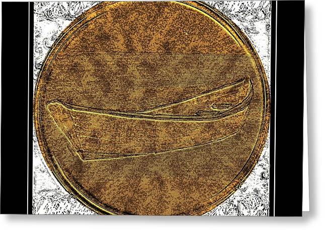 Brass Etching Greeting Cards - Fishing Dory - Brass Etching Greeting Card by Barbara Griffin