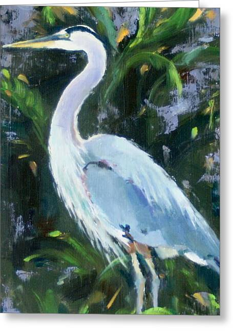 Blue Herron Paintings Greeting Cards - Fishing Expert Greeting Card by Sandra Harris
