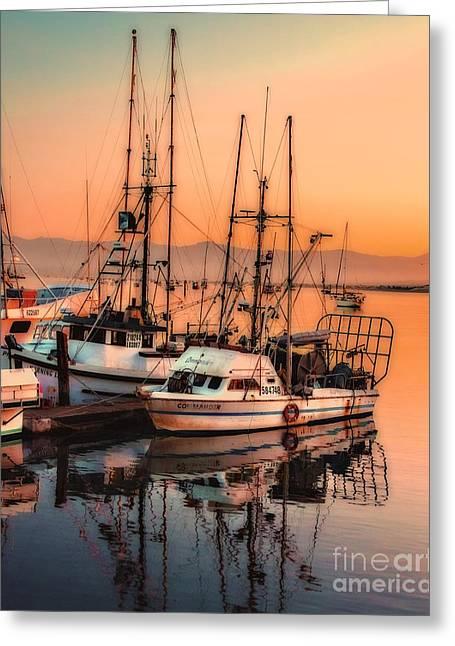 Boats At Dock Greeting Cards - Fishing Fleet Sunset Boat Reflection at Fishermans Wharf Morro Bay California Greeting Card by Jerry Cowart