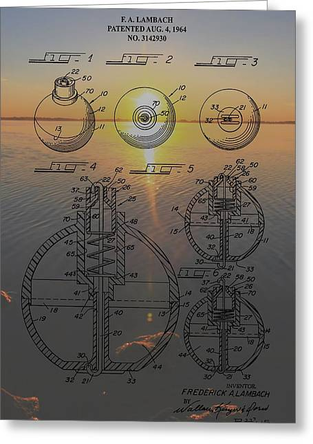 Fishing Bait Shop Greeting Cards - Fishing Float Patent Sunrise Greeting Card by Dan Sproul