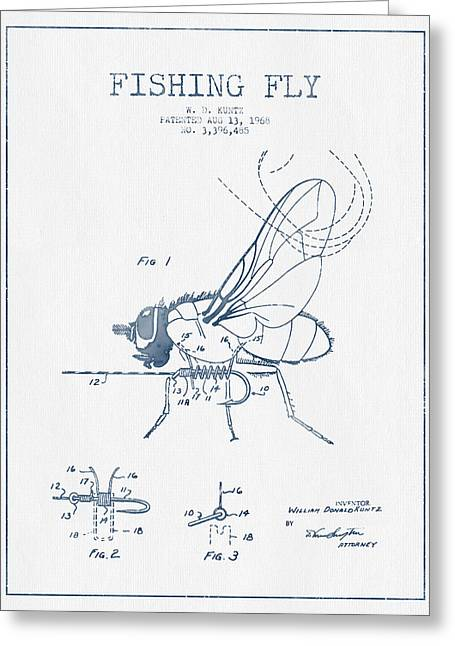 Fishing Fly Patent Drawing From 1968 - Blue Ink Greeting Card by Aged Pixel
